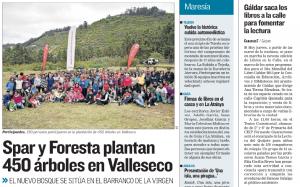 SPAR y Foresta Plantan 450 árboles en Valleseco (Canarias 7)